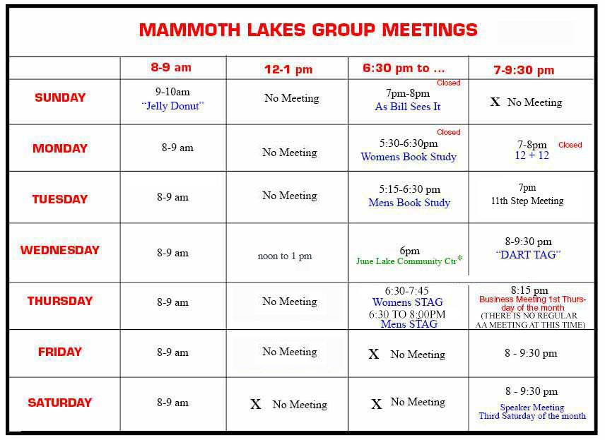 Meeting Schedule - Mammoth AA